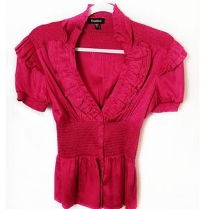 BEBE button front peplum v ruffled neck red top